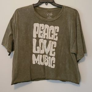 Cold Crush Peace Love Music crop t shirt